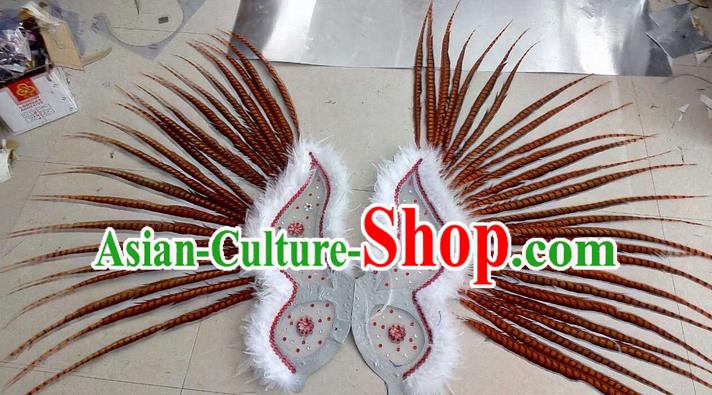 Top Grade Professional Stage Show Halloween Props Decorations Wings, Brazilian Rio Carnival Parade Samba Dance Red Long Feather Catwalks Backplane for Women