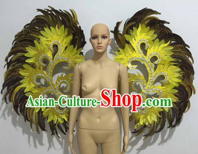 Top Grade Professional Stage Show Halloween Props Decorations Wings, Brazilian Rio Carnival Parade Samba Dance Catwalks Yellow Feather Backplane for Women