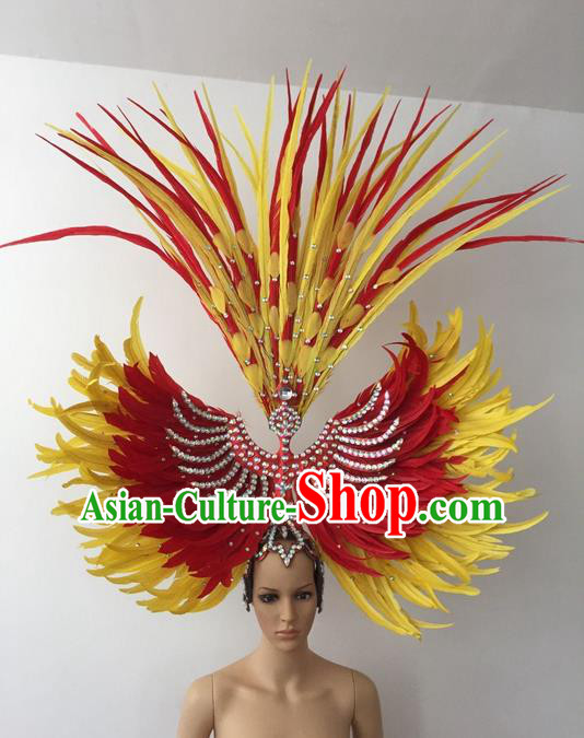 Top Grade Professional Stage Show Halloween Parade Hair Accessories, Brazilian Rio Carnival Parade Samba Dance Catwalks Feather Headpiece for Women