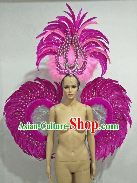 Top Grade Professional Stage Show Halloween Parade Props Decorations Wings and Headpiece, Brazilian Rio Carnival Parade Samba Dance Catwalks Rosy Feather Backplane for Women