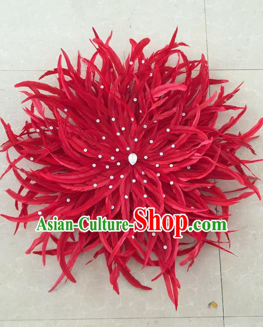 Top Grade Professional Stage Show Halloween Parade Red Feather Hair Accessories, Brazilian Rio Carnival Parade Samba Dance Catwalks Headpiece for Women