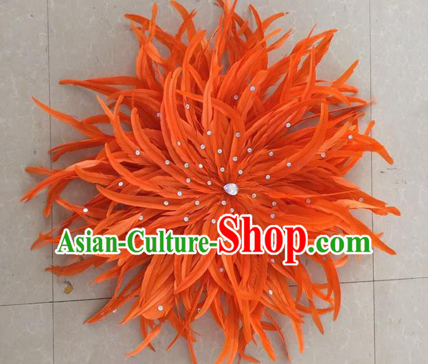 Top Grade Professional Stage Show Halloween Parade Orange Feather Hair Accessories, Brazilian Rio Carnival Parade Samba Dance Catwalks Headpiece for Women