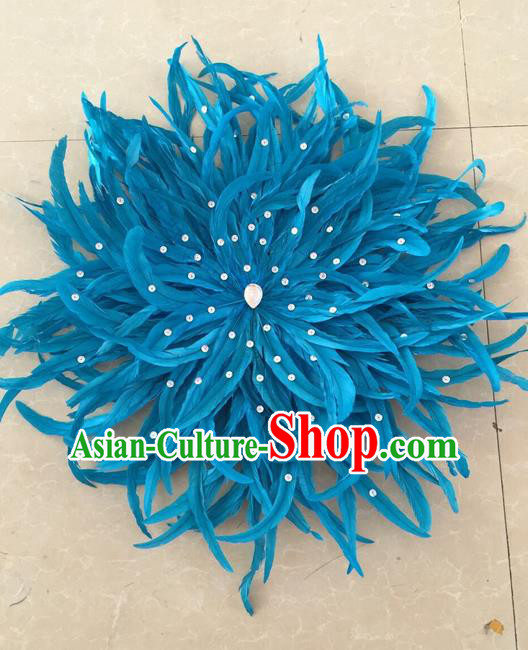 Top Grade Professional Stage Show Halloween Parade Blue Feather Hair Accessories, Brazilian Rio Carnival Parade Samba Dance Catwalks Headpiece for Women