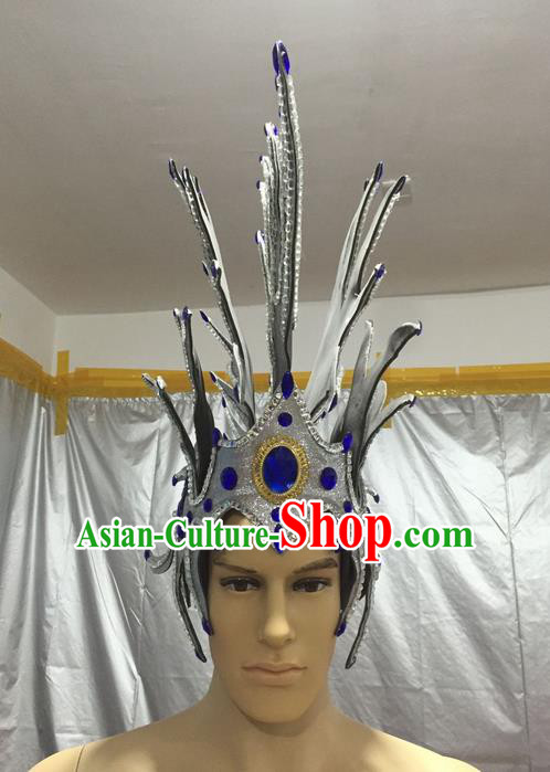 Top Grade Professional Stage Show Halloween Parade Headpiece Hats, Brazilian Rio Carnival Parade Samba Dance Soldier Helmet for Men