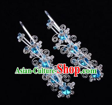 Chinese Ancient Peking Opera Hair Accessories Young Lady Diva Butterfly Head Ornaments, Traditional Chinese Beijing Opera Hua Tan Blue Crystal Hairpins