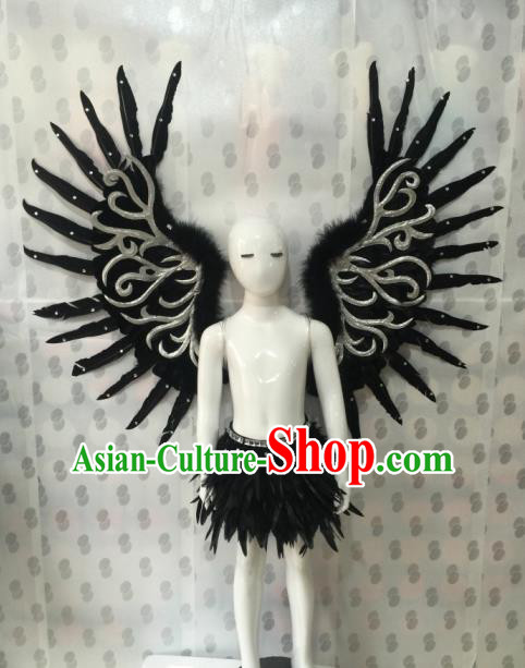 Top Grade Professional Stage Show Halloween Parade Props Decorations Wings, Brazilian Rio Carnival Parade Samba Dance Black Backplane for Kids