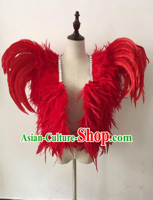 Top Grade Professional Stage Show Halloween Parade Costumes, Brazilian Rio Carnival Parade Samba Dance Catwalks Red Feather Clothing for Kids