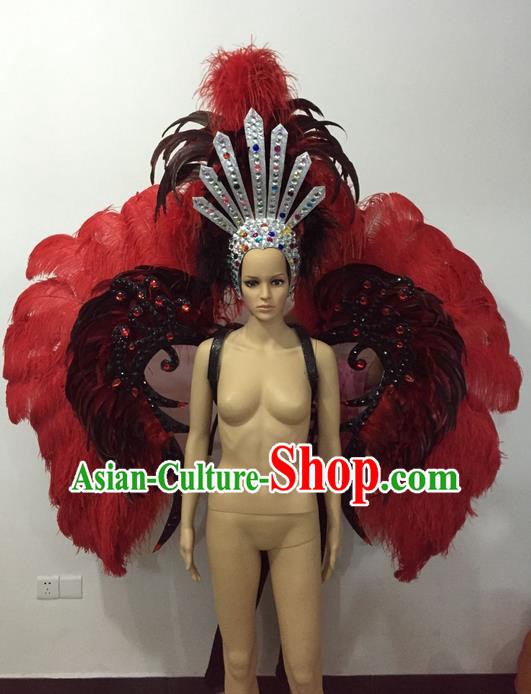 Top Grade Professional Stage Show Halloween Parade Props Decorations Wings and Headpiece, Brazilian Rio Carnival Parade Samba Dance Feather Backplane for Women