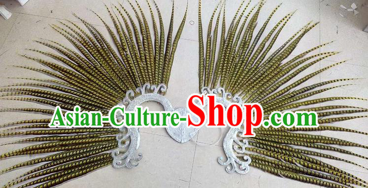 Top Grade Professional Stage Show Halloween Props Decorations, Brazilian Rio Carnival Parade Samba Dance Yellow Feather Catwalks Backplane for Women