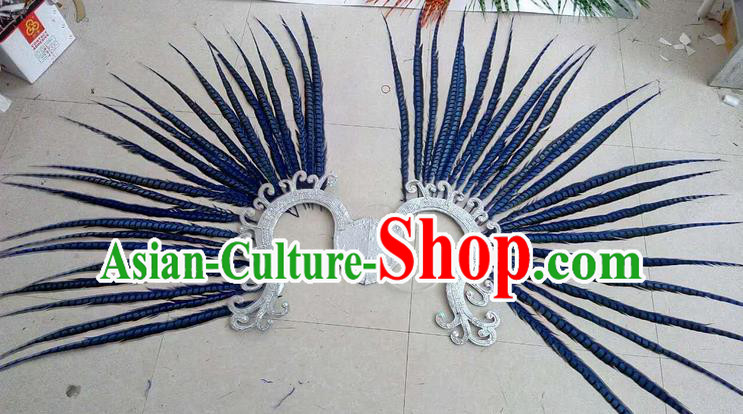 Top Grade Professional Stage Show Halloween Props Decorations, Brazilian Rio Carnival Parade Samba Dance Blue Feather Catwalks Backplane for Women
