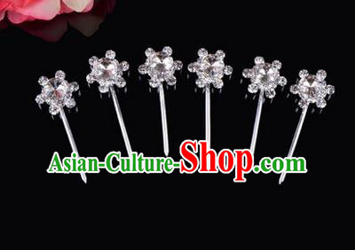 Chinese Ancient Peking Opera Hair Accessories Young Lady Diva Head Ornaments, Traditional Chinese Beijing Opera Hua Tan White Crystal Bead Hairpins