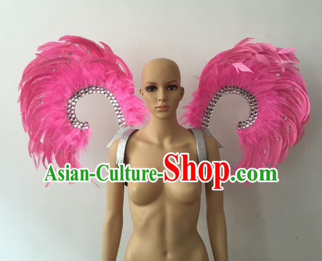 Top Grade Professional Stage Show Halloween Parade Props Decorations Wings, Brazilian Rio Carnival Parade Samba Dance Pink Feather Backplane for Women