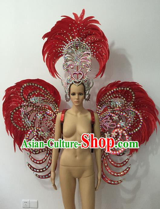Top Grade Professional Stage Show Halloween Parade Props Decorations Deluxe Wings and Headpiece, Brazilian Rio Carnival Parade Samba Dance Red Feather Backplane for Women