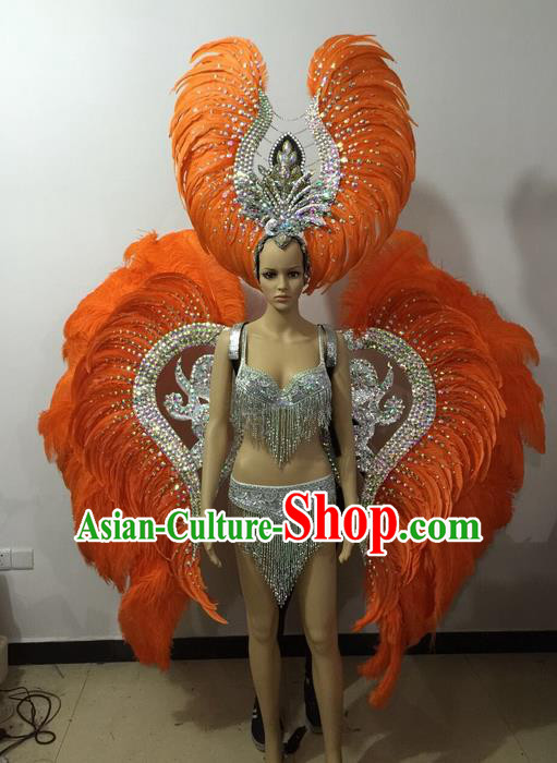 Top Grade Professional Performance Catwalks Bikini Wings Costume and Headpiece, Traditional Brazilian Rio Carnival Samba Modern Fancywork Orange Feather Swimsuit for Women