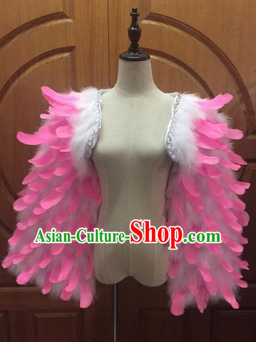 Top Grade Professional Performance Catwalks Clothing, Traditional Brazilian Rio Carnival Samba Modern Fancywork Pink Feather Costume for Women