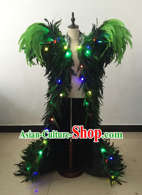 Top Grade Professional Performance Catwalks Led Light Clothing, Traditional Brazilian Rio Carnival Samba Modern Fancywork Green Feather Costume for Kids
