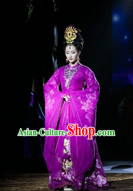 Traditional Ancient Chinese Imperial Queen Costume and Handmade Headpiece Complete Set, Elegant Hanfu Chinese Southern and Northern Dynasty Imperial Consort Embroidered Trailing Clothing