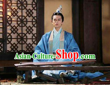 Traditional Chinese Ancient Warring States Time Prince Costumes, Song of Phoenix Chu State Nobility Childe Hanfu Clothing and Handmade Headpiece Complete Set