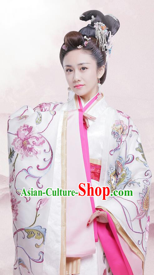 Traditional Chinese Ancient Warring States Imperial Concubine Costumes, Song of Phoenix Chu State Senior Concubine Hanfu Embroidered Clothing and Handmade Headpiece Complete Set