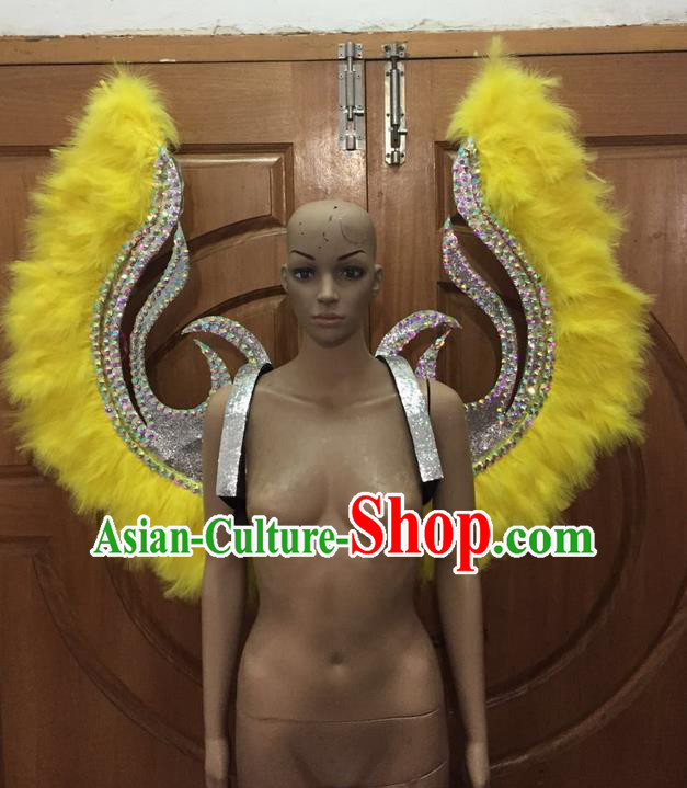 Top Grade Halloween Parade Decorations Brazilian Rio Carnival Samba Dance Yellow Feathers Deluxe Wings for Women