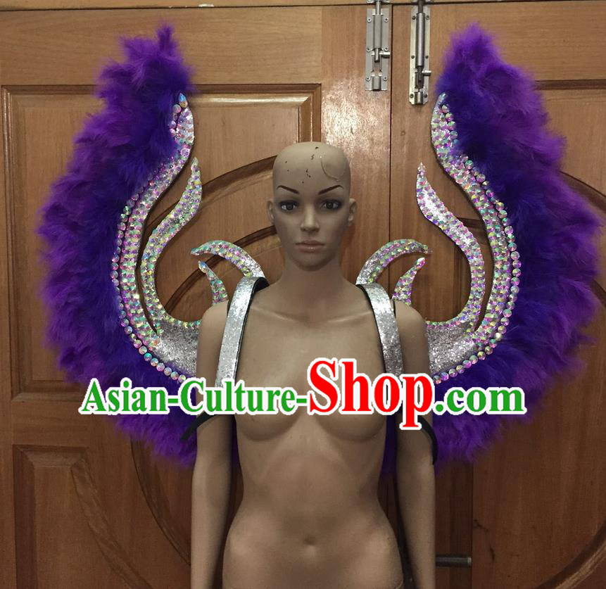 Top Grade Halloween Parade Decorations Brazilian Rio Carnival Samba Dance Purple Feathers Deluxe Wings for Women