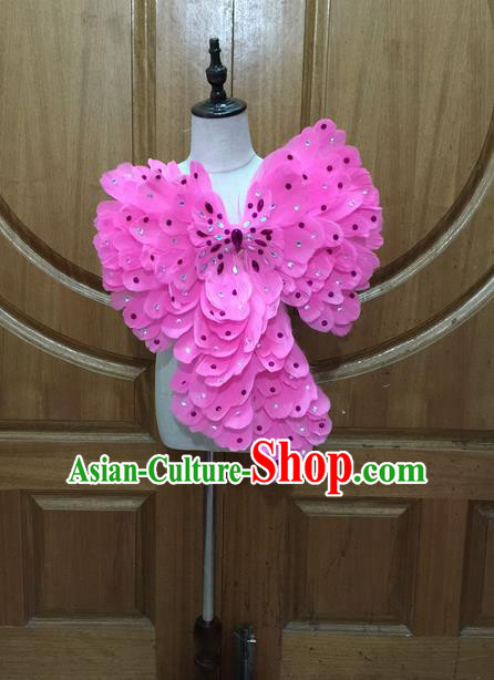 Top Grade Brazilian Rio Carnival Samba Dance Feather Decorations, Halloween Parade Big Pink Bowknot for Kids