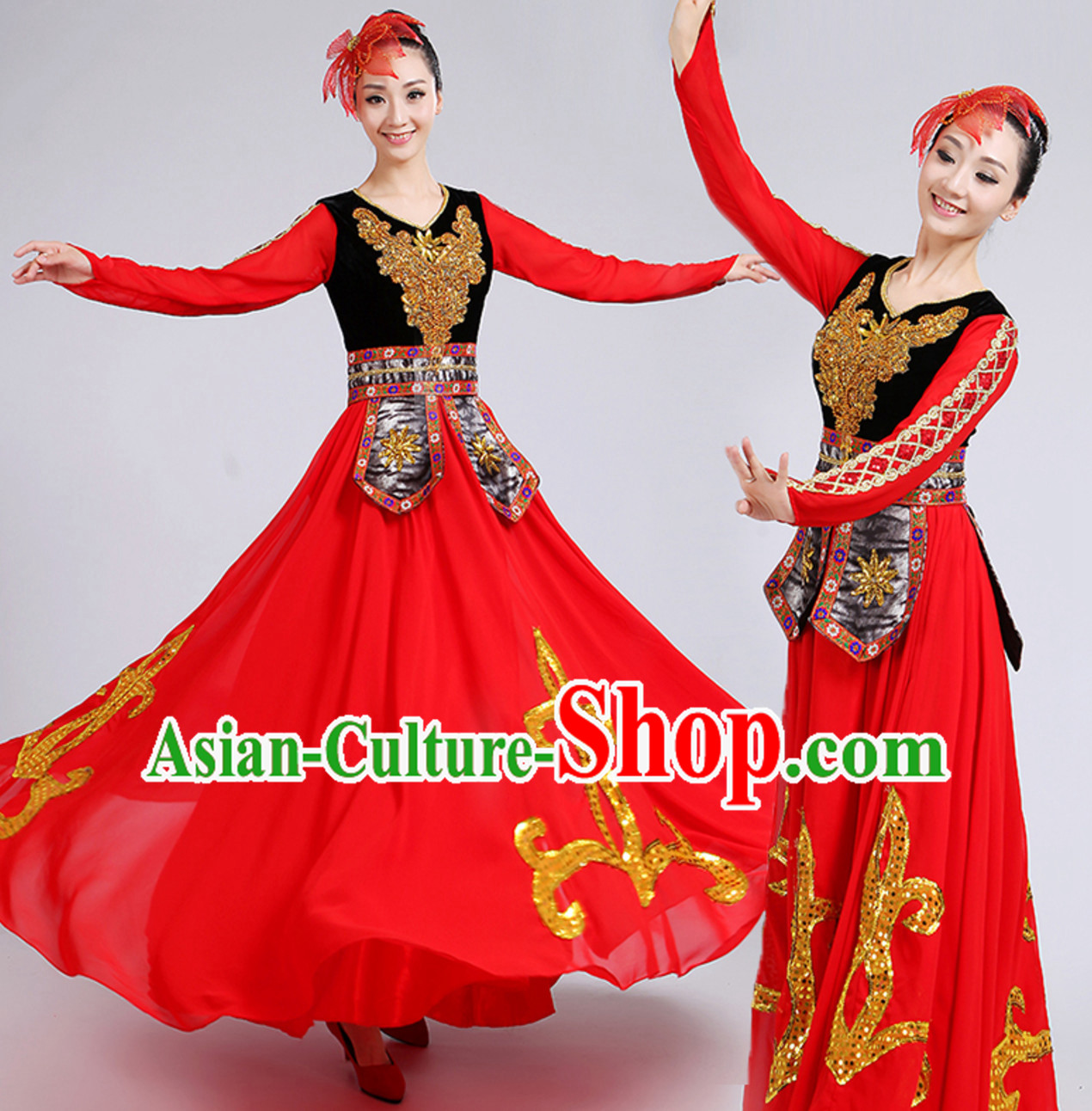 Red Traditional Xinjiang Folk Dance Costumes Chinese Minority Ethnic Stage Dance Dresses for Adults