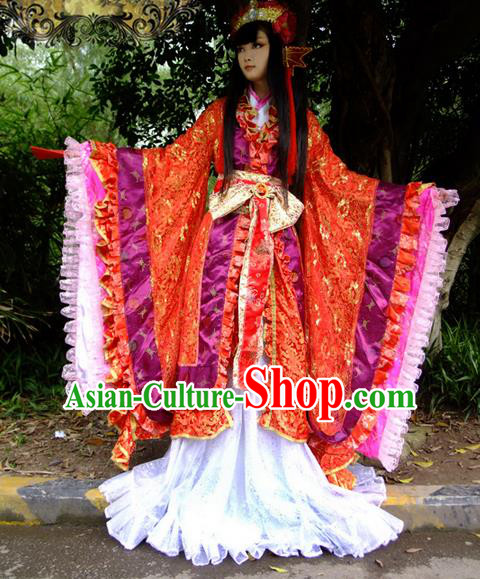 Top Grade Traditional China Ancient Cosplay Wedding Costumes, China Ancient Young Lady Princess Elegant Hanfu Bride Red Dress for Women