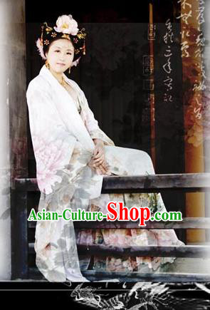 Top Grade Traditional China Ancient Palace Lady Costumes Complete Set, China Ancient Cosplay Tang Dynasty Imperial Concubine Dress Clothing for Adults and Kids