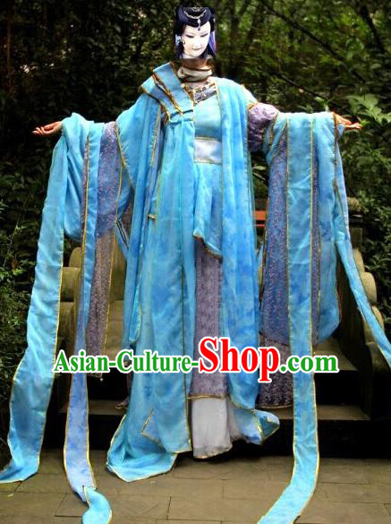 Top Grade Traditional China Ancient Cosplay Princess Costumes, China Ancient Young Lady Peri Water Sleeve Hanfu Blue Dress Clothing for Women