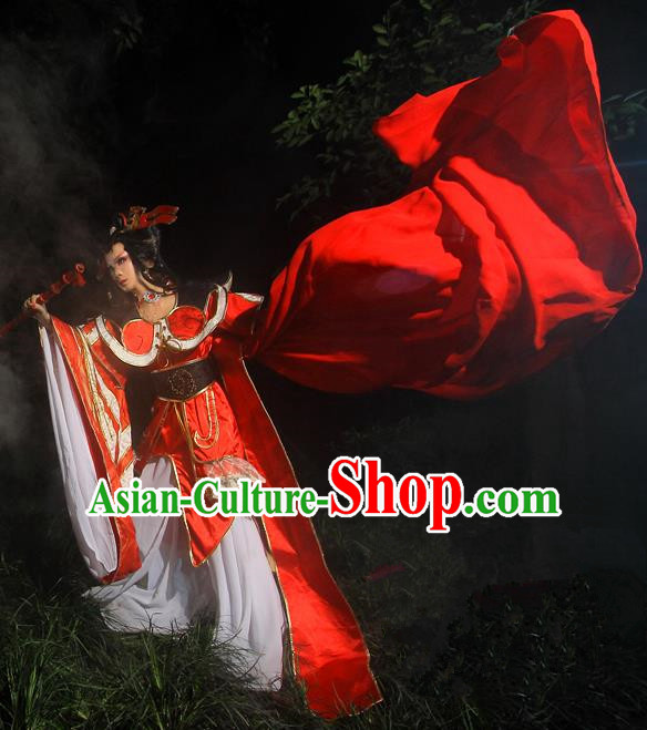 Top Grade Traditional China Ancient Cosplay Swordswoman Costumes, China Ancient Young Lady Peri Water Sleeve Hanfu Red Dress Clothing for Women