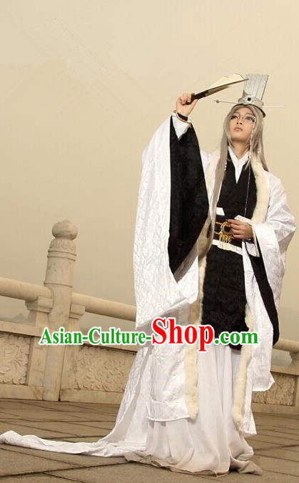 Top Grade Traditional China Ancient Cosplay Military Counsellor Costumes, China Ancient Zhuge Liang Hanfu Robe Clothing for Men