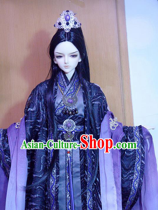 Top Grade Traditional China Ancient Cosplay Swordsman Costumes Complete Set, China Ancient Highness Hanfu Robe Clothing for Men for Kids
