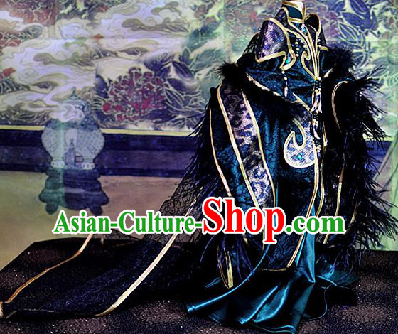 Top Grade Traditional China Ancient Cosplay Duke Swordsman Costumes Complete Set, China Ancient Highness Hanfu Robe Clothing for Men for Kids