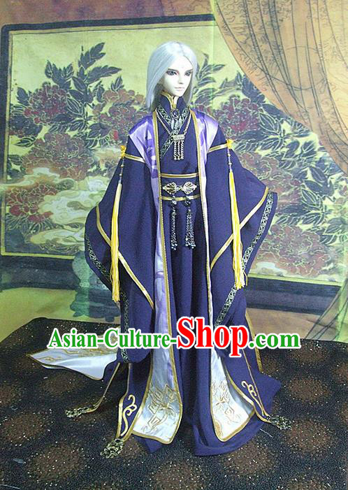 Top Grade Traditional China Ancient Cosplay Swordsman Costumes Complete Set, China Ancient Taoist Master Hanfu Purple Robe Clothing for Men for Kids