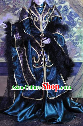 Top Grade Traditional China Ancient Cosplay Swordsman Costumes Complete Set, China Ancient Taoist Royal Highness Hanfu Robe Clothing for Men for Kids