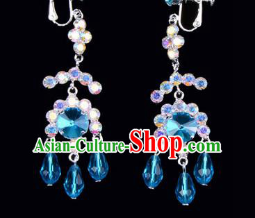 Chinese Ancient Peking Opera Head Accessories Young Lady Diva Colorful Crystal Blue Earrings, Traditional Chinese Beijing Opera Hua Tan Eardrop Ear Pendants