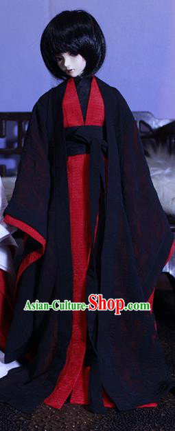 Top Grade Traditional China Ancient Cosplay Chivalrous Expert Costumes Complete Set, China Ancient Knight-Errant Black Hanfu Robe Clothing for Men for Kids