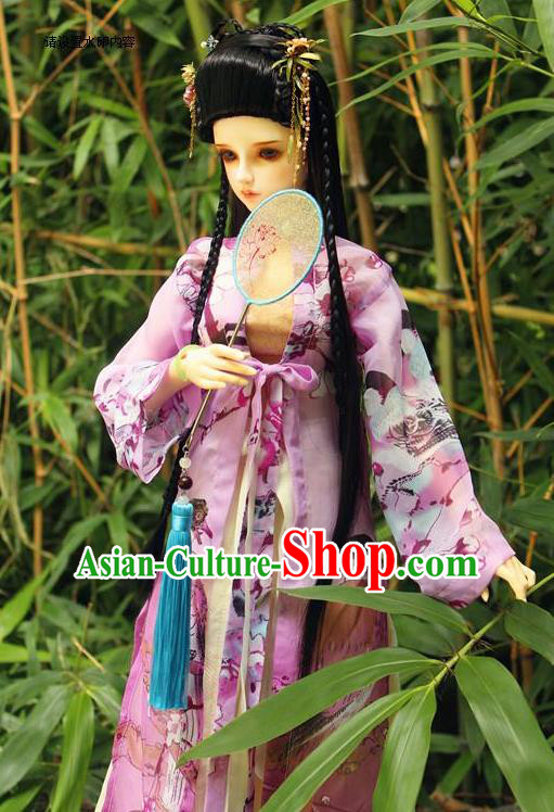 Top Grade Traditional China Ancient Palace Lady Costumes Complete Set, China Ancient Cosplay Tang Dynasty Princess Pink Dress Clothing for Adults and Kids