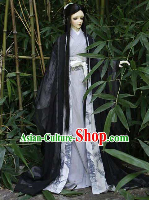 Top Grade Traditional China Ancient Cosplay Chivalrous Expert Costumes Wide Sleeve Cardigan, China Ancient Knight-Errant Black Clothing for Men for Kids