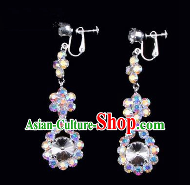 Chinese Ancient Peking Opera Head Accessories Young Lady Diva Colorful Crystal White Water Drop Earrings, Traditional Chinese Beijing Opera Hua Tan Eardrop Ear Pendants