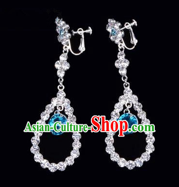 Chinese Ancient Peking Opera Head Accessories Young Lady Diva Colorful Crystal Blue Water Drop Earrings, Traditional Chinese Beijing Opera Hua Tan Ear Pendants