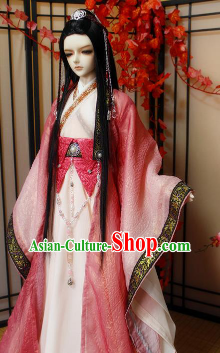 Top Grade Traditional China Ancient Cosplay Nobility Childe Costumes, China Ancient Han Dynasty Swordsman Knight-Errant Red Robe Clothing for Men for Kids