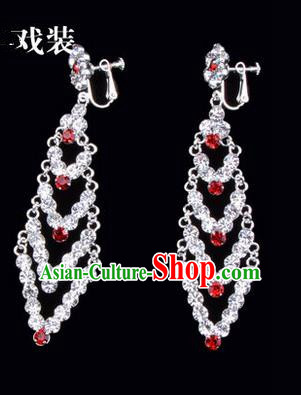 Chinese Ancient Peking Opera Head Accessories Young Lady Diva Colorful Crystal Red Rhombus Earrings, Traditional Chinese Beijing Opera Hua Tan Ear Pendants