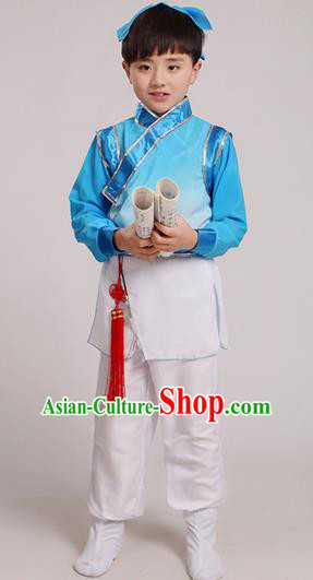 Top Grade Chinese Ancient Scholar Costume and Headwear Complete Set, Children Martial Arts Performance Blue Clothing for Kids