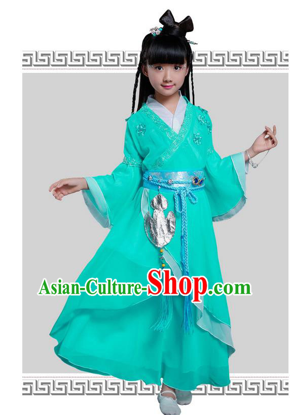 Top Grade Chinese Ancient Princess Costume, Children Peri Elegant Hanfu Dress Green Clothing for Kids