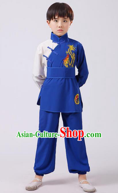Top Grade Chinese Ancient Martial Arts Costume, Children Taiji Kung fu Blue Clothing for Kids