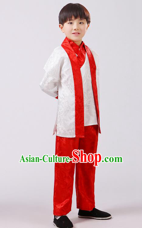 Top Grade Chinese Ancient Martial Arts Red Uniform Costume, Children Taiji Kung fu Blue Hanfu Clothing for Kids