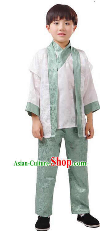 Top Grade Chinese Ancient Martial Arts Green Uniform Costume, Children Taiji Kung fu Blue Hanfu Clothing for Kids