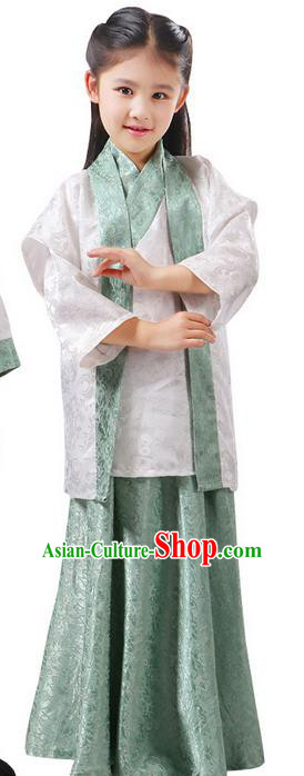 Top Grade Chinese Ancient Palace Princess Costume, Children Han Dynasty Hanfu Green Clothing for Kids